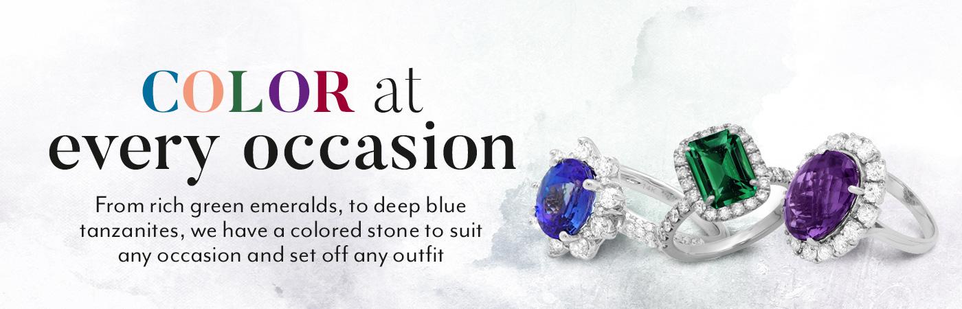 Color Gemstone Diamond Rings Banner