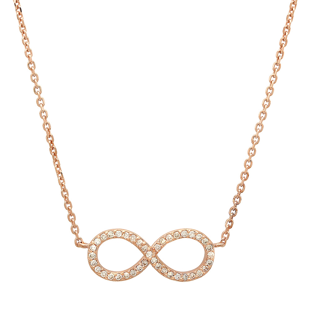 0.16 carat Diamond Infinity Pendant Necklace on 14K Rose Gold