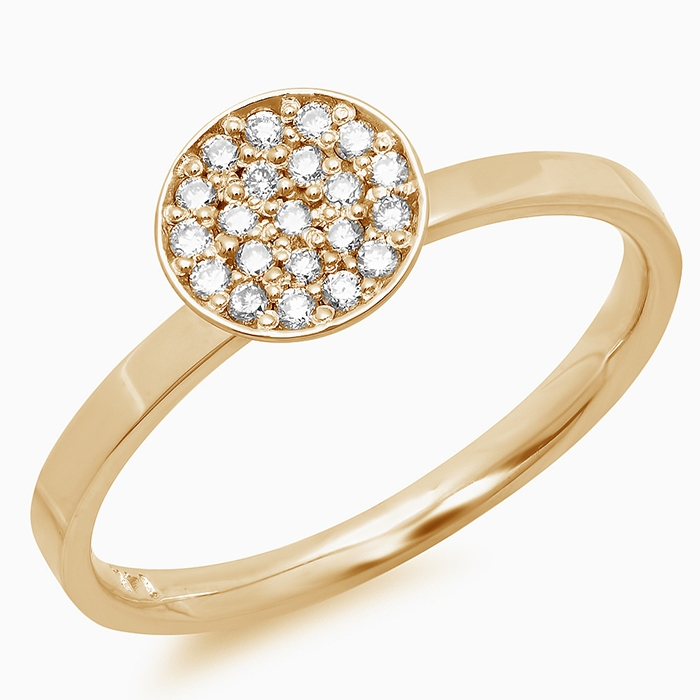 0.18 carat Round Cup Diamond Ring on 14K Yellow Gold