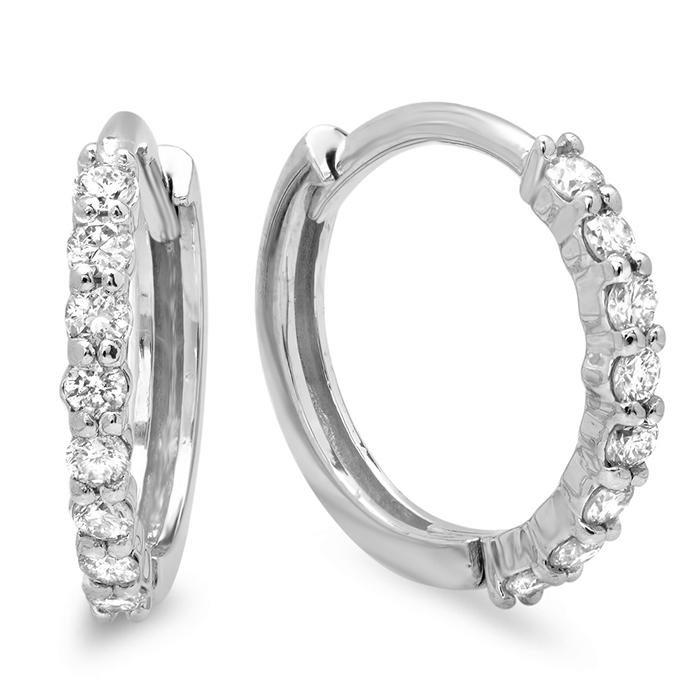 0.3 carat Diamond Huggie Earrings on 14K White Gold