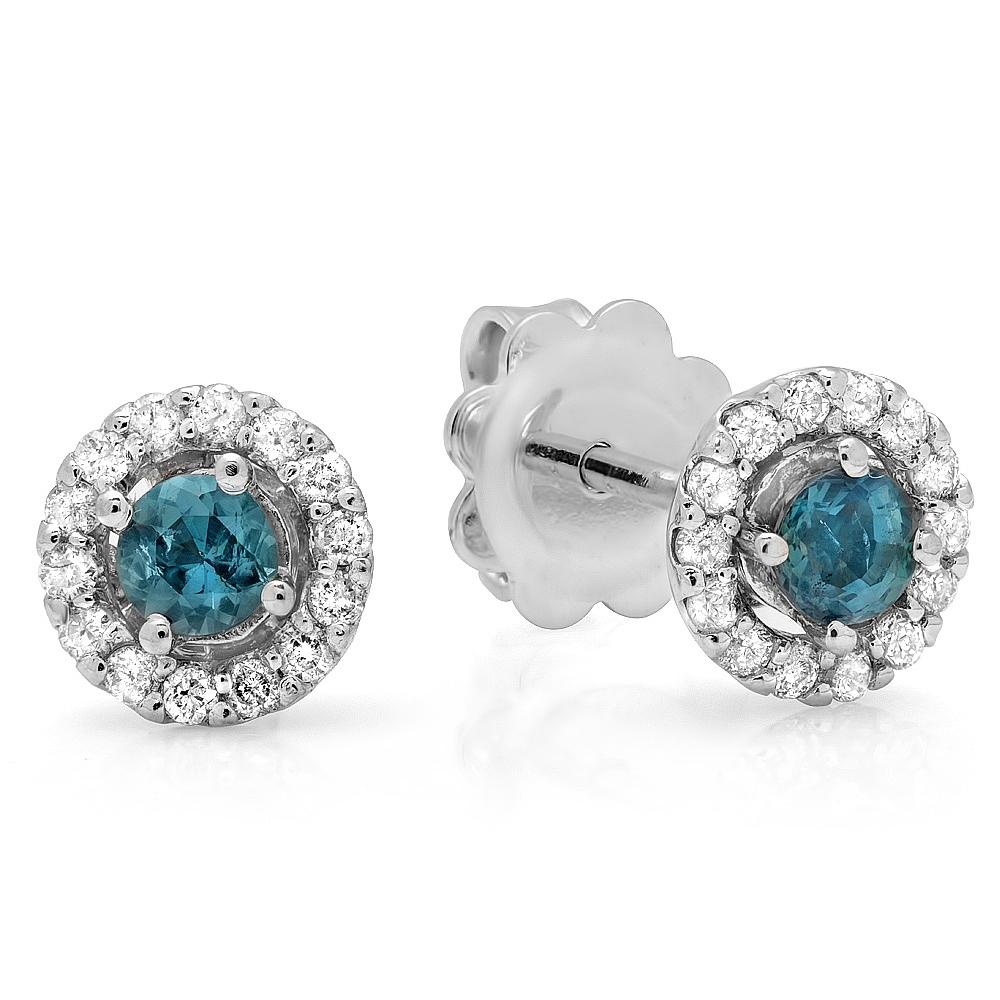 0.41 carat Grossular Garnet Diamond Stud Earrings on White Gold