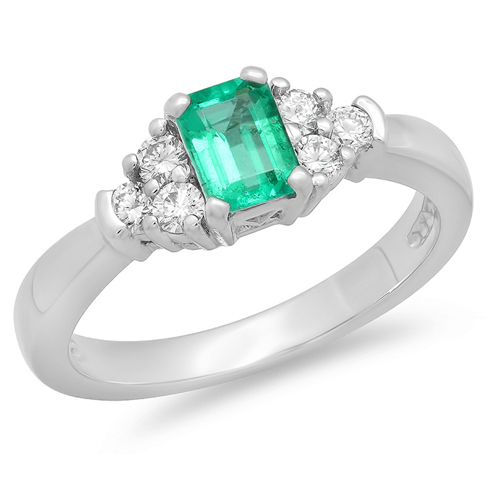 0.45 carat Emerald and Diamond Ring on 14k White Gold