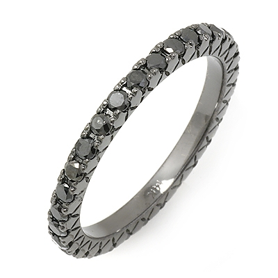 0.8 carat Black Diamond Eternity Ring on 14K Black Gold