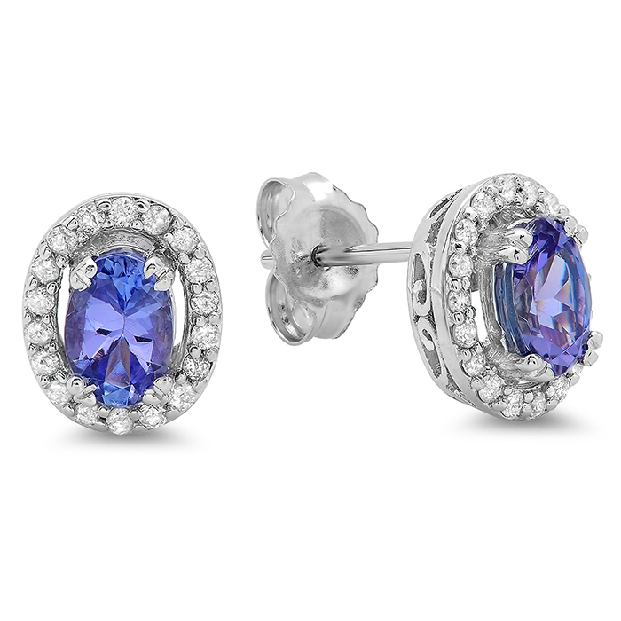 0.93 carat Tanzanite and Diamond Halo Stud Earrings on 14K White Gold