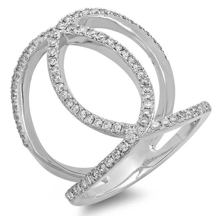 0.69 ct Multi-Curve Double Diamond Ring on 14K White Gold
