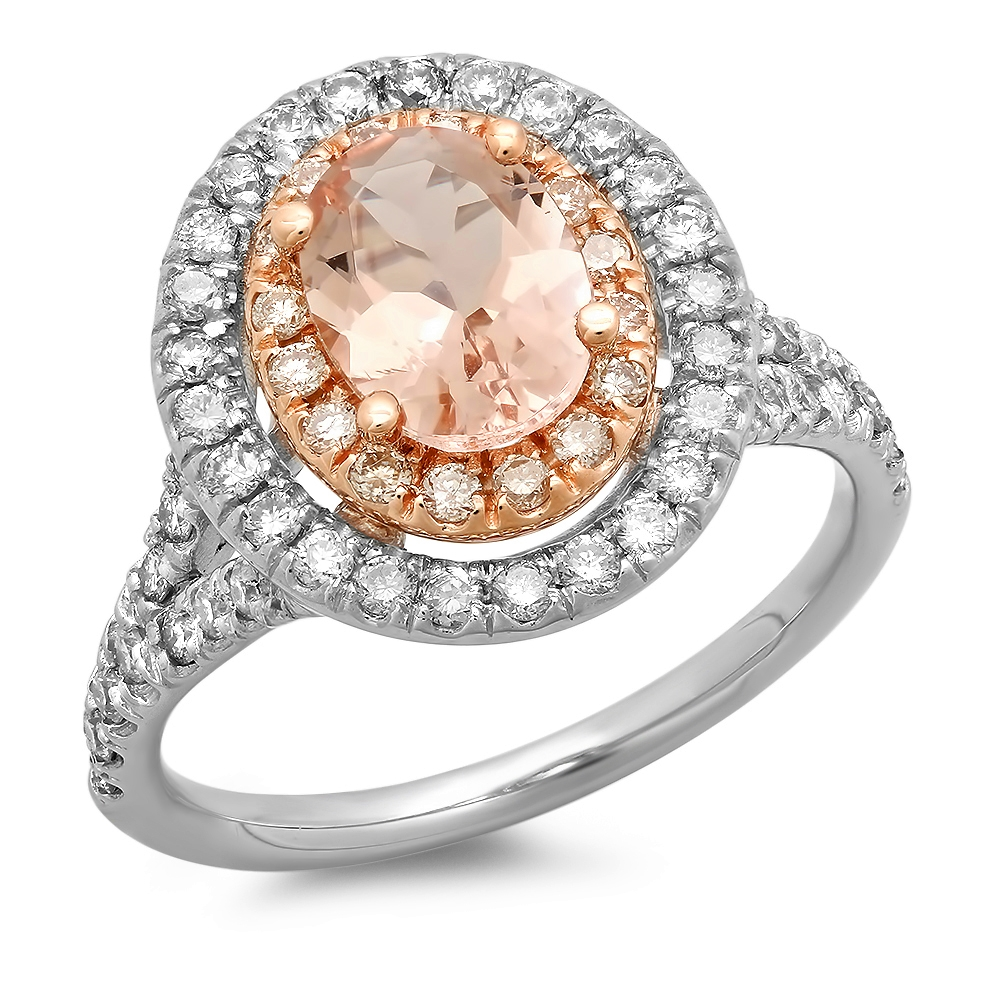 1 carat Morganite Double Halo Ring on Rose & White Gold
