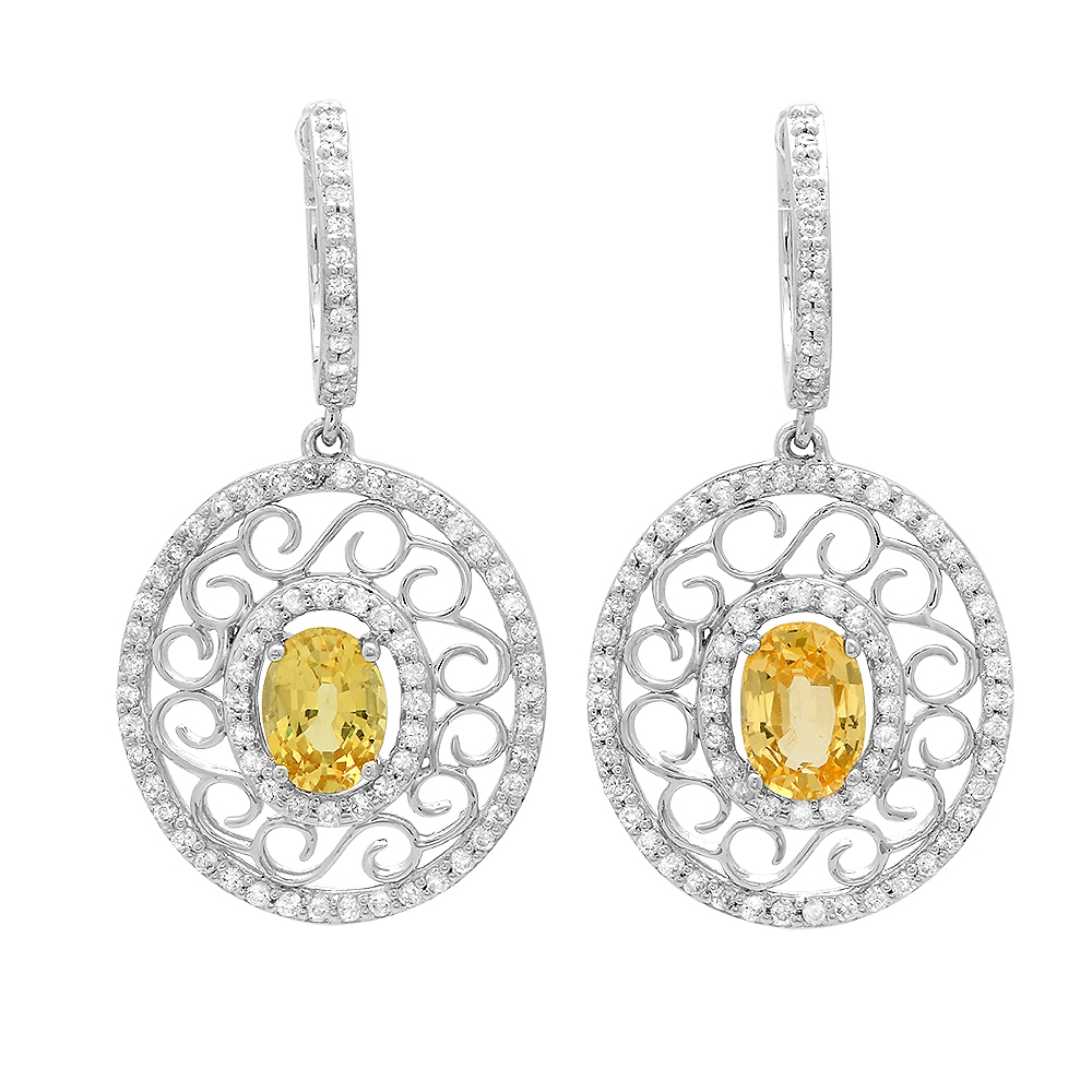 di jewelry white vs yellow earrings with sapphire diamond gold f stud halo