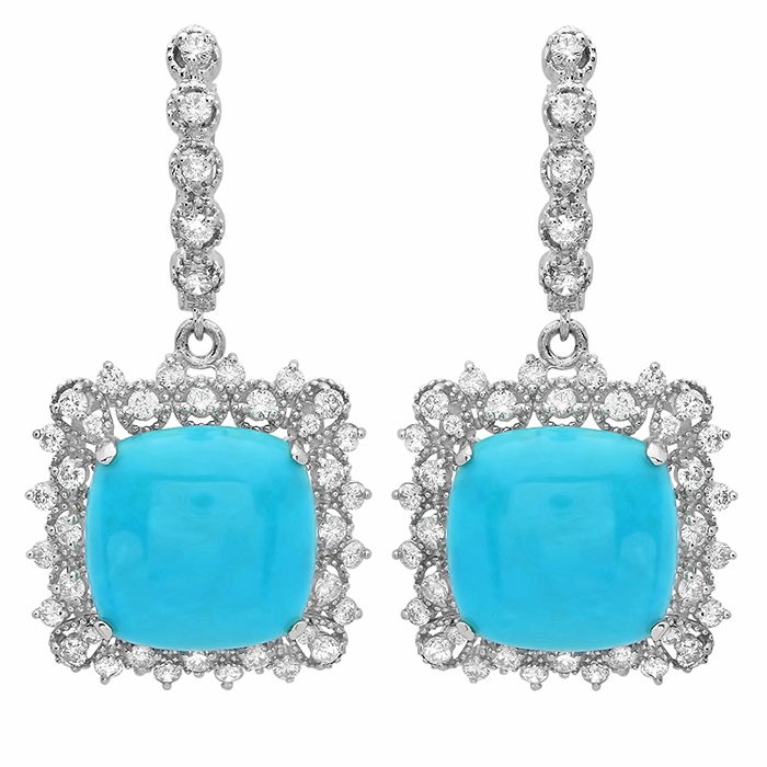 14.45 carat Turquoise and Diamond Drop Earrings on 14K White Gold