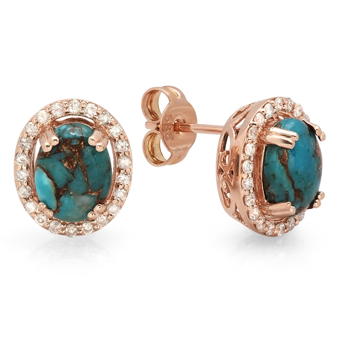 2.03 carat Copper Turquoise and Diamond Halo Earrings on 14K Rose Gold