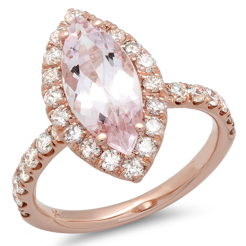 2 carat Marquise cut Morganite and Diamond Halo Ring on 14K Rose Gold