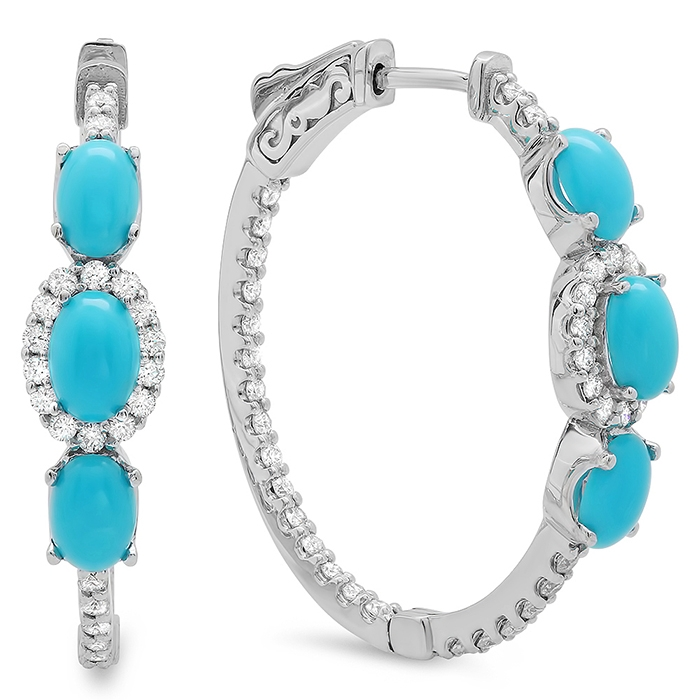 2.22 carat Turquoise and Diamond Hoop Earrings on 14K White Gold