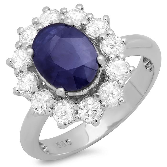 2 ct Blue Sapphire & Diamond Ring on 14K White Gold