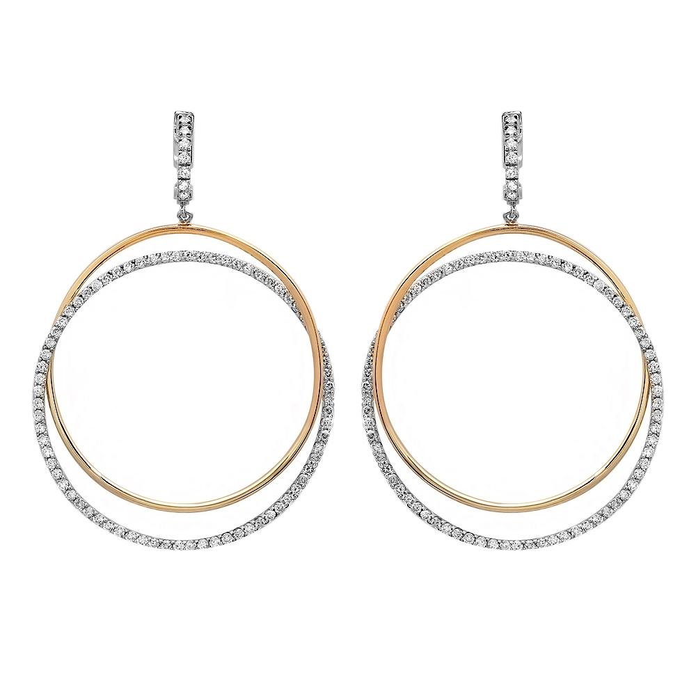 2.45 carat Double Hoop Diamond Earrings on 14K Two Tone Gold