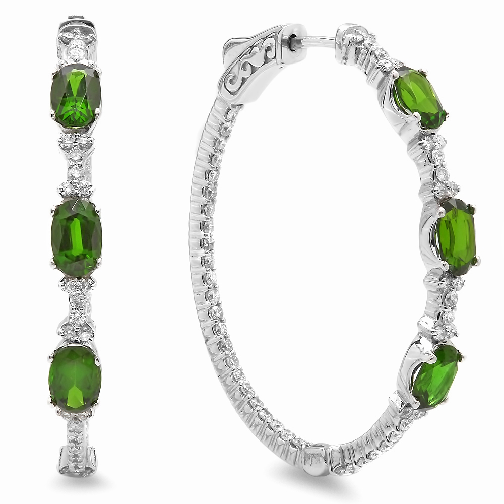 3.10 carat Chrome Diopside Diamond Earrings on White Gold