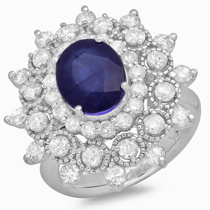 3.31 ct Blue Sapphire & Diamond Ring on 14K White Gold