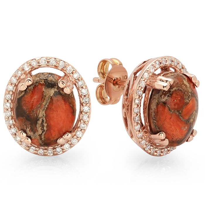 3.45ct Copper Red Turquoise and Diamond Earrings on 14K Rose Gold