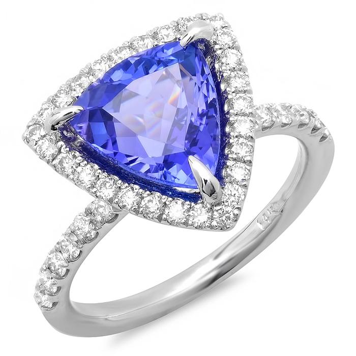 3.48 carat Trillion Cut Tanzanite Ring on 14K White Gold