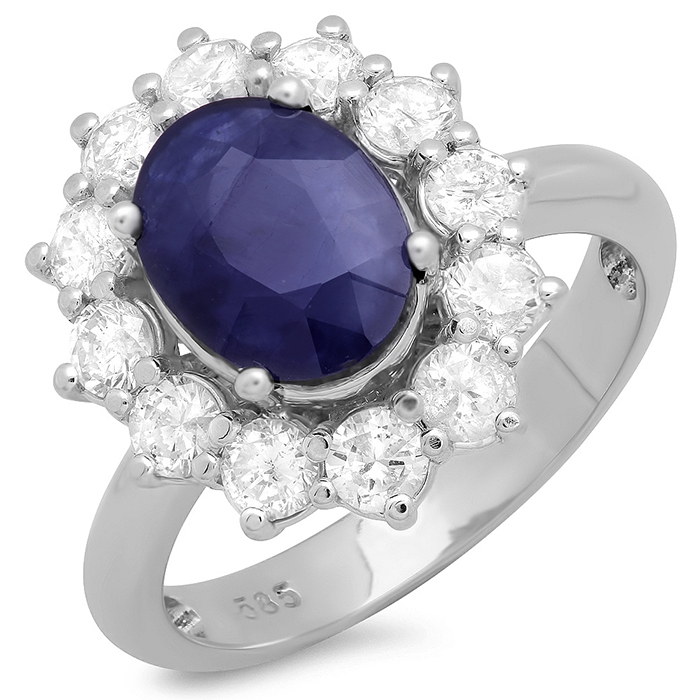 3 ct Blue Sapphire & Diamond Ring on 14K White Gold