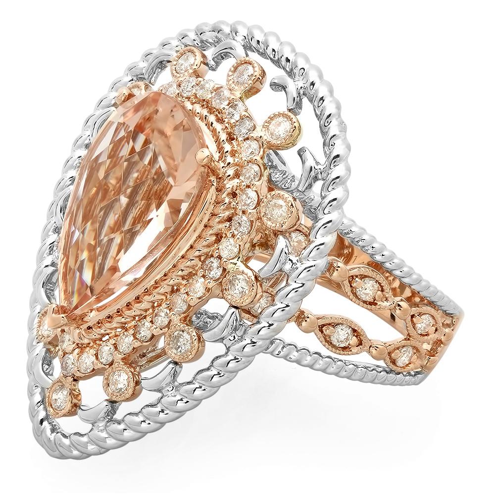 4.32 ct Morganite & Diamond Ring on 14K Rose & White Gold
