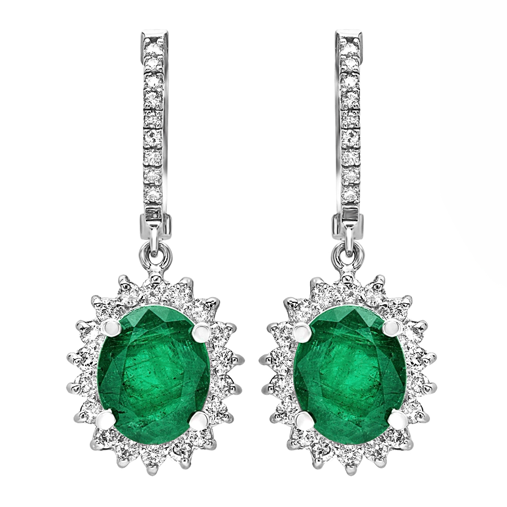 4.82 carat Emerald and Diamond Drop Earrings on 14K White Gold