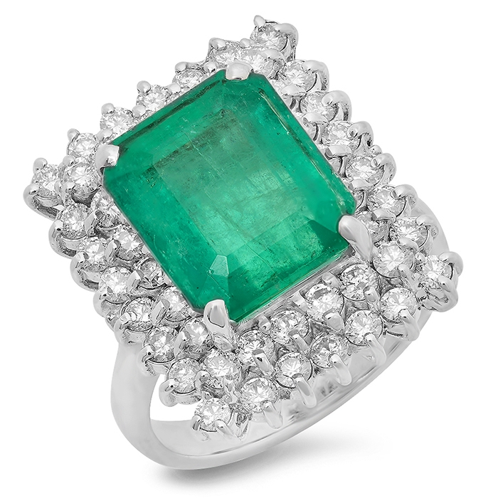 6.23 carat Emerald and Diamond Ring on 14k White Gold