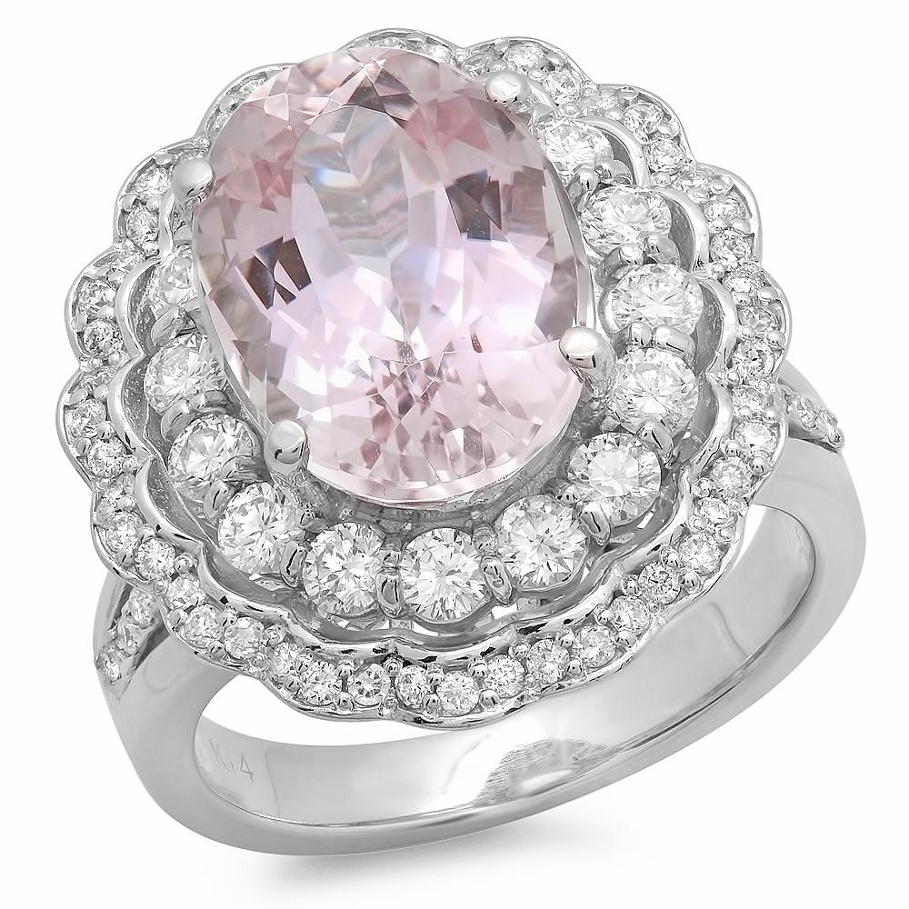 7.33 carat Morganite and Diamond Ring on 14K White Gold