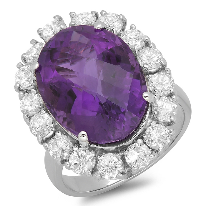 10 ct oval Amethyst Diamond Halo Ring 14K White Gold