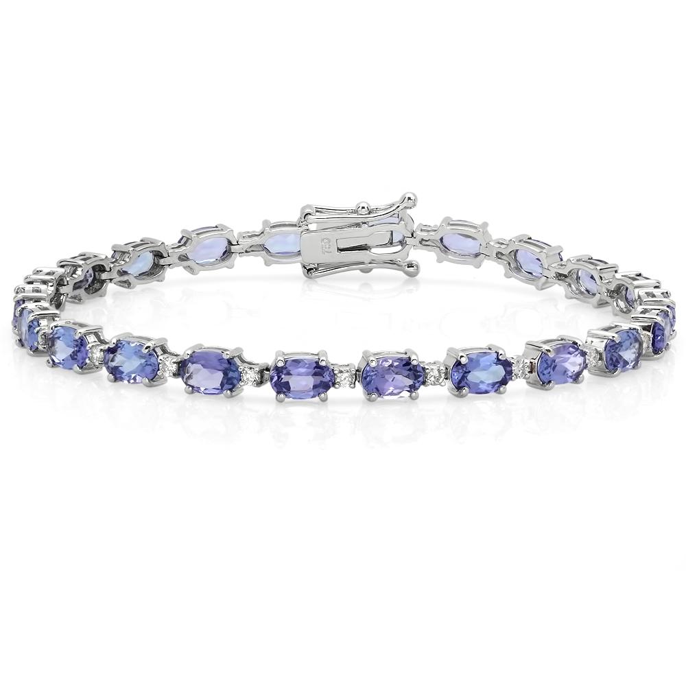 9.97 carat Tanzanite and Diamond Bracelet on 18K White Gold