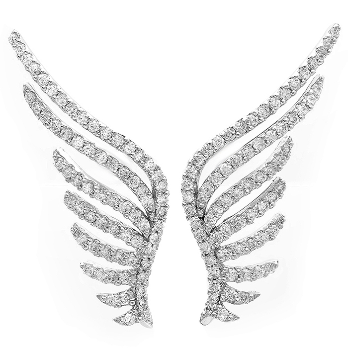 Diamond Angel Open Wing Earrings On 14k White Gold