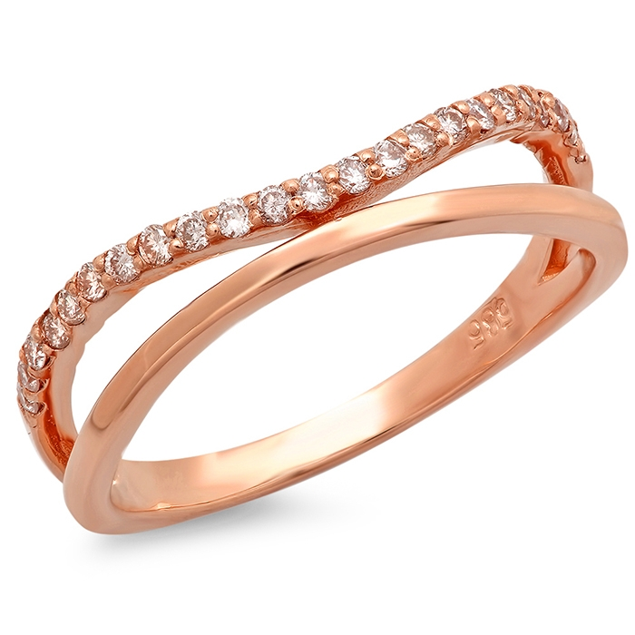 Double Band Curved Diamond Ring on 14K Rose Gold