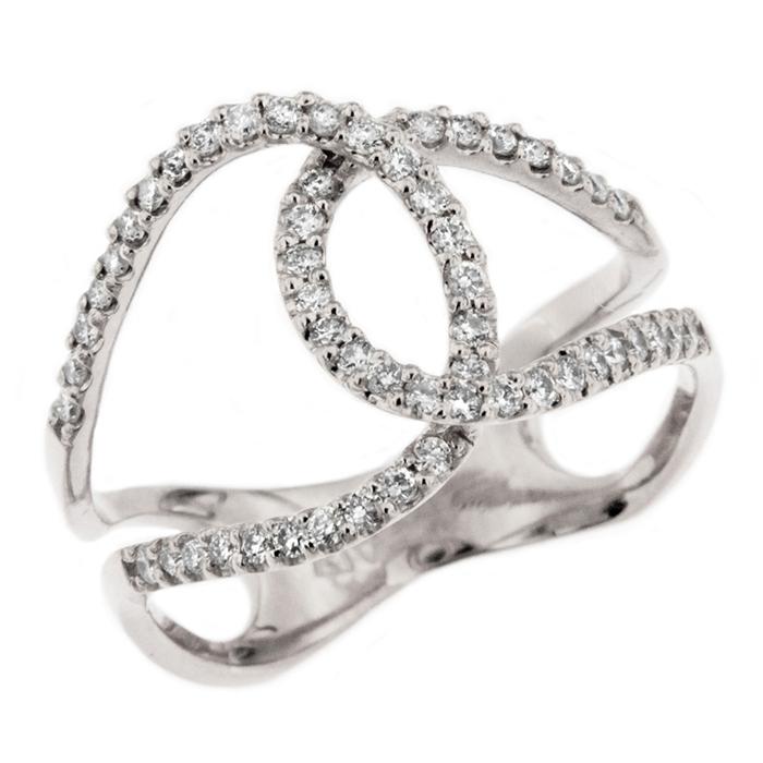 Double Horseshoe Diamond Ring on 14K White Gold