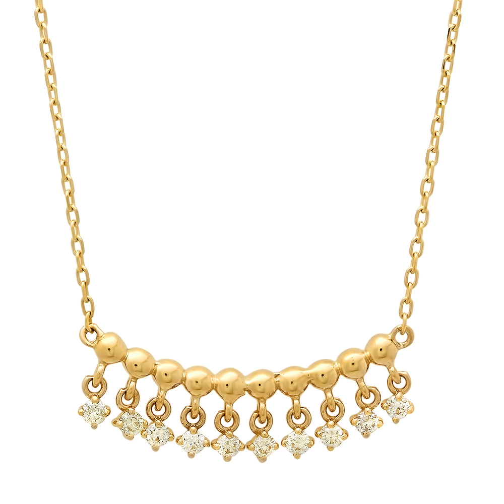 Golden Beaded Diamond Pendant Necklace on Yellow Gold