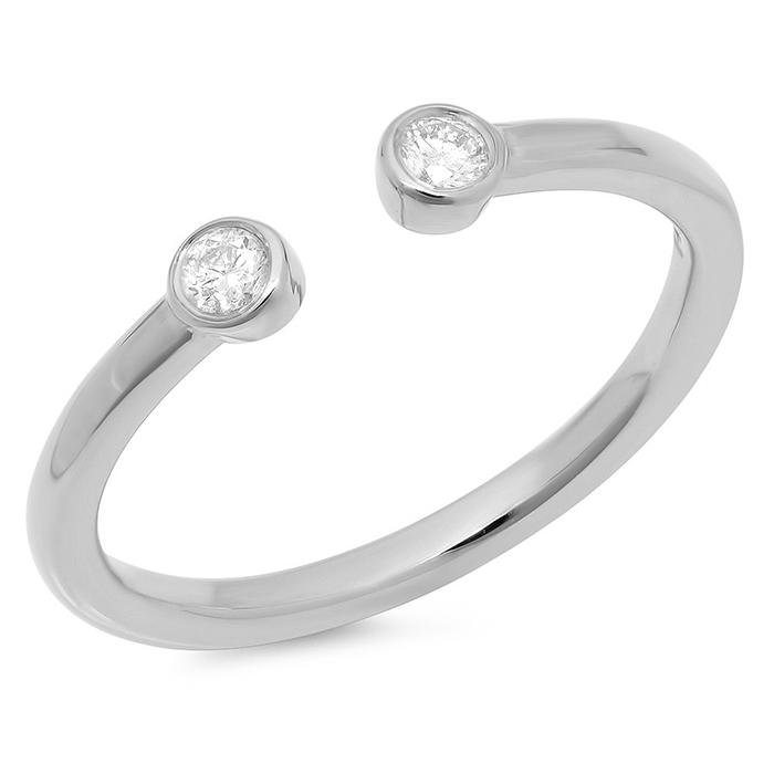 Omega Two Stone Diamond Ring on 14K White Gold