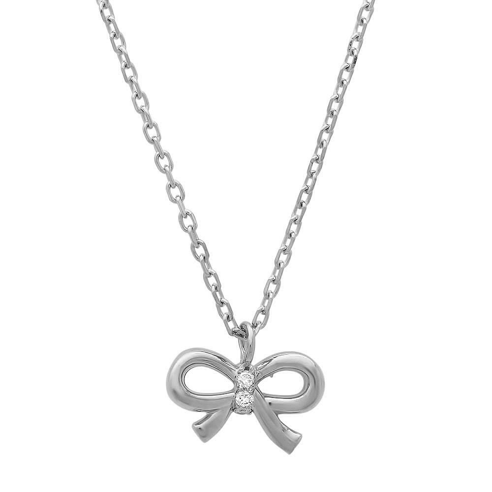 Little Bow Diamond Necklace on White Gold