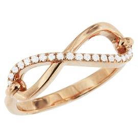 0.14ct Semi Diamond Infinity Ring on 14K Rose Gold