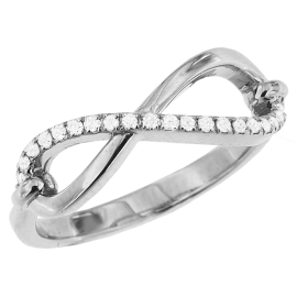 0.14ct Semi Diamond Infinity Ring on 14K White Gold