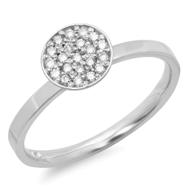 0.18ct Round Cup Diamond Ring on 14K White Gold
