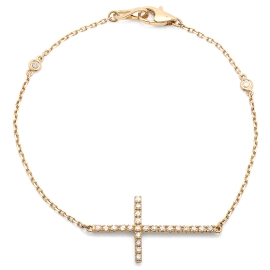 0.34ct Diamond Cross Bracelet on 14K Yellow Gold