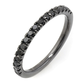 0.38ct black diamond ring on 14k black gold