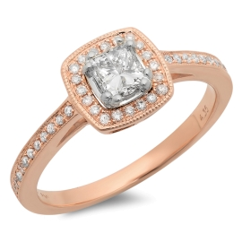 0.44ct Princess Cut Diamond Ring on 14K Rose Gold