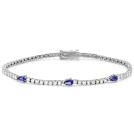 0.55 carat Tanzanite and Diamond Bracelet on 14K White Gold