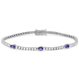 0.55ct Tanzanite and Diamond Bracelet on 14K White Gold