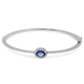 0.59 carat Tanzanite and Diamond Bangle on 14K White Gold