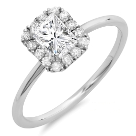 0.64 ctw Princess Cut Diamond Halo Engagement Ring on White Gold