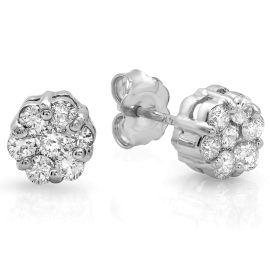 0.69ct Invisible Diamond Stud Earrings on 14K White Gold