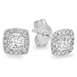 0.72 ctw Princess Cut Diamond Stud Earrings on 14K White Gold