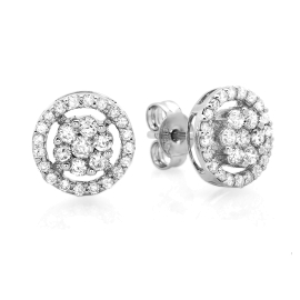 0.73 ctw Invisible Diamond Halo Earrings on 14K White Gold