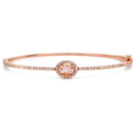 0.78 carat Morganite and Diamond Bangle on 14K Rose Gold