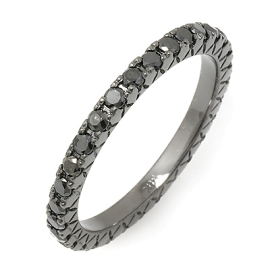 0.8ct Black Diamond Eternity Ring on 14K Black Gold