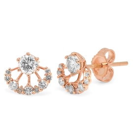 0.8 carat Diamond Stud Jacket Earrings on Rose Gold